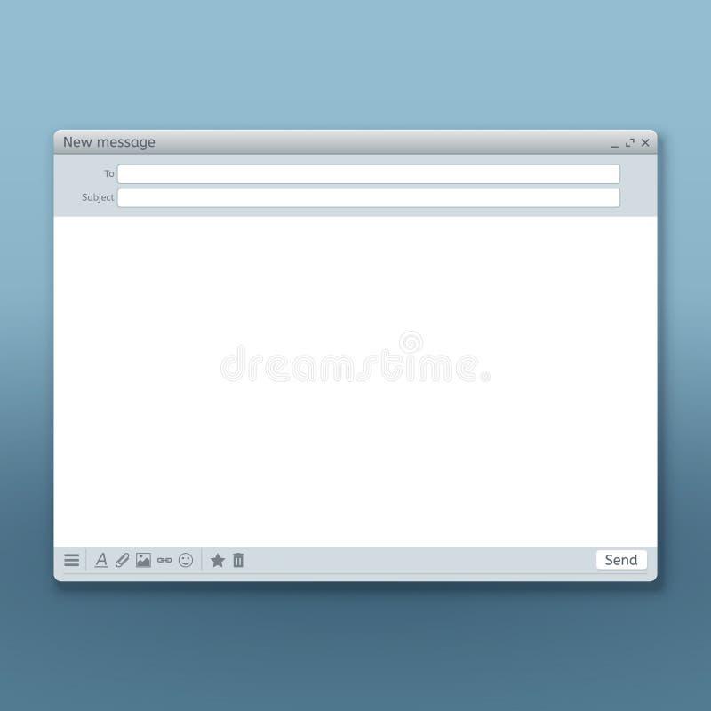 L'interfaccia di messaggio di posta elettronica con invia il modello di vettore della forma illustrazione vettoriale