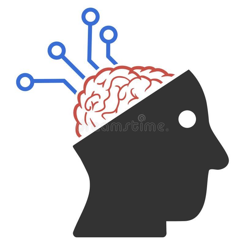 L'interfaccia neurale collega l'icona del quadro televisivo illustrazione di stock