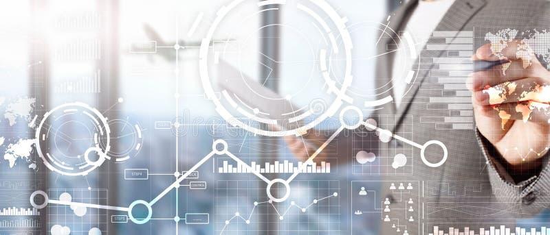 L'interface d'affaires a mélangé le diagramme et l'icône financiers de graphique de diagramme de double exposition de médias sur  illustration stock
