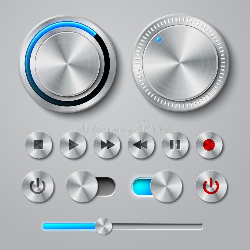 L'interface en métal boutonne la collection illustration libre de droits