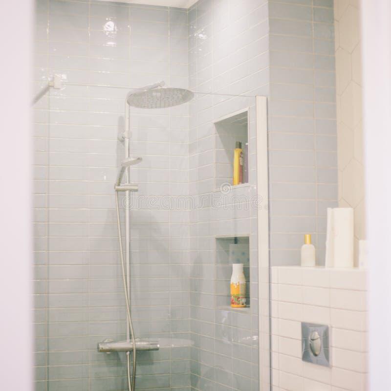 L'interior design del bagno o della doccia nei toni grigi Rubinetto della doccia dietro il vetro, scaffali con gli sciampi e tova immagine stock