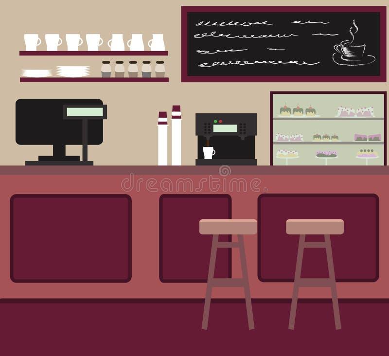 L'interior design del caffè Caffetteria con la contro barra fotografia stock libera da diritti