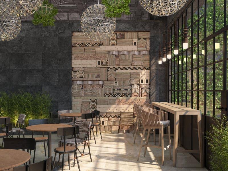 L'interior design del ristorante è stile del sottotetto Tabelle con le sedie sui precedenti di una parete nera con una pentola de illustrazione vettoriale
