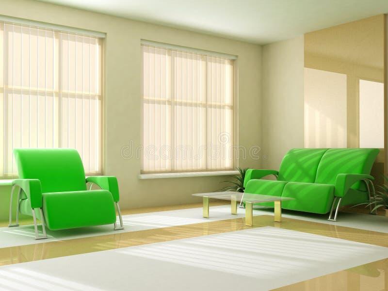 L'interiore all'indicatore luminoso modifica la gelosia la tonalità della finestra della tabella del sofà royalty illustrazione gratis