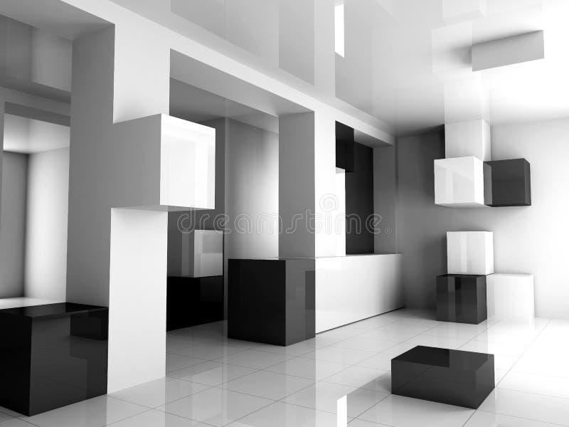 L'interiore bianco è nero illustrazione vettoriale