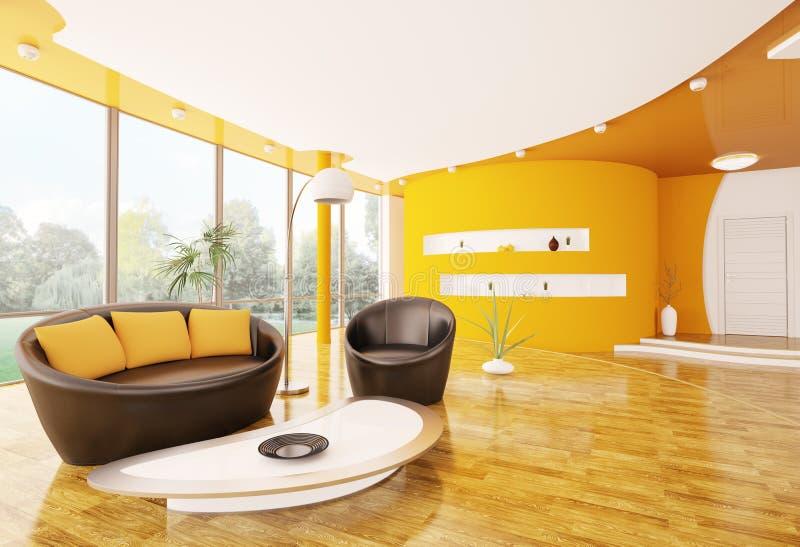 L'interiore del salone moderno 3d rende royalty illustrazione gratis