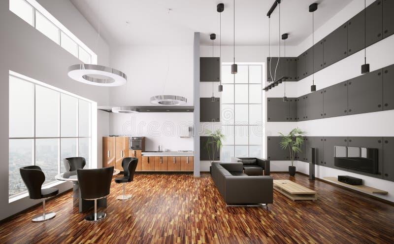 L'interiore dell'appartamento moderno 3d rende illustrazione vettoriale