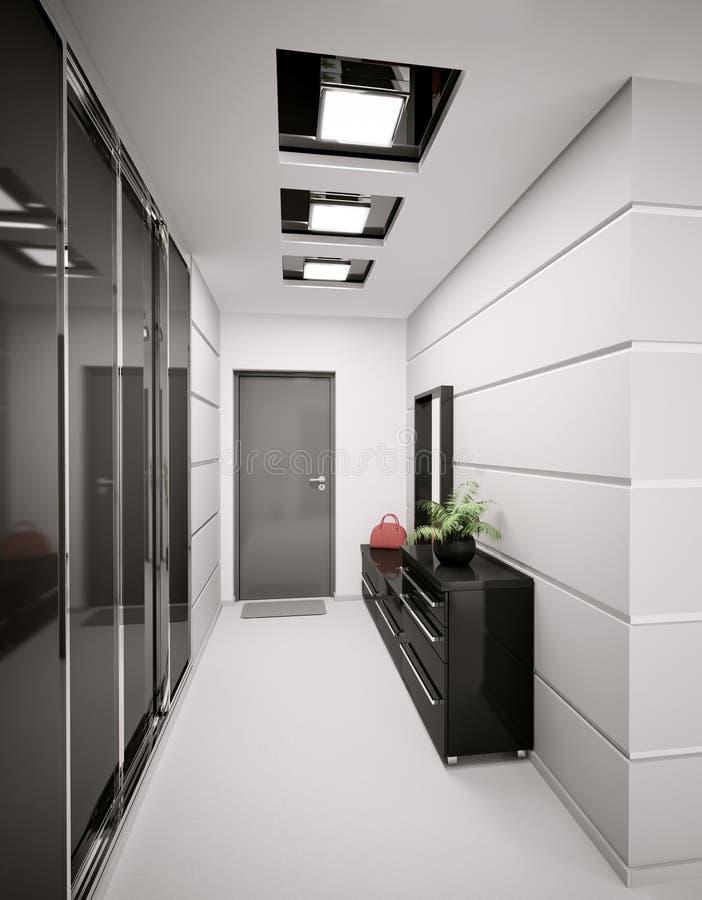 L'interiore dell'atrio moderno 3d rende illustrazione vettoriale