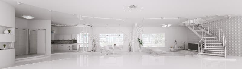 L'interiore di panorama bianco 3d dell'appartamento rende