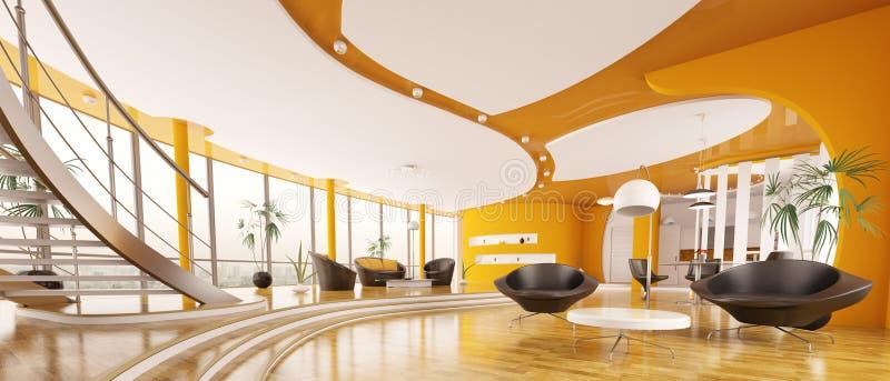 L'interiore di panorama moderno 3d dell'appartamento rende royalty illustrazione gratis