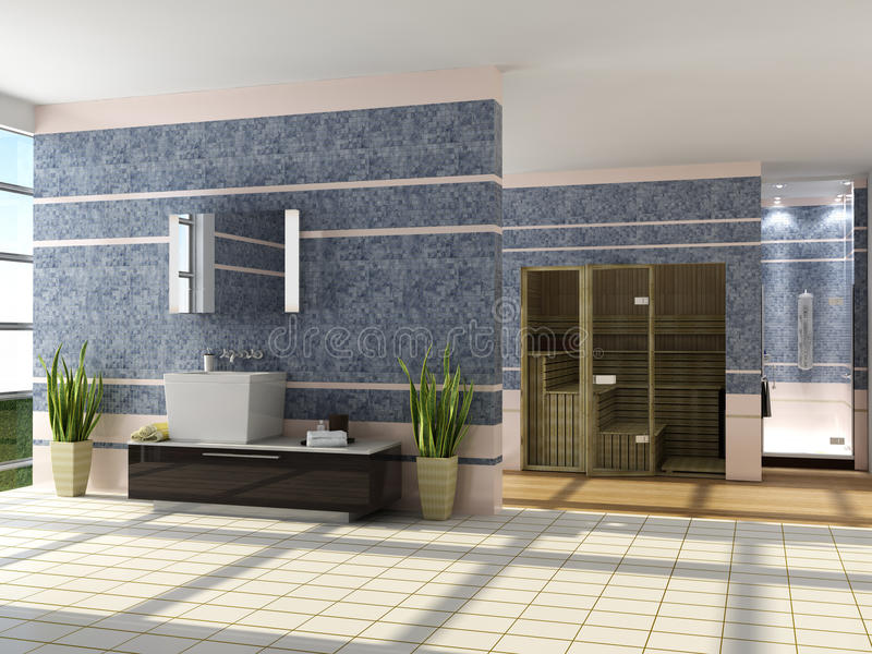 L'interiore moderno di una stanza da bagno royalty illustrazione gratis