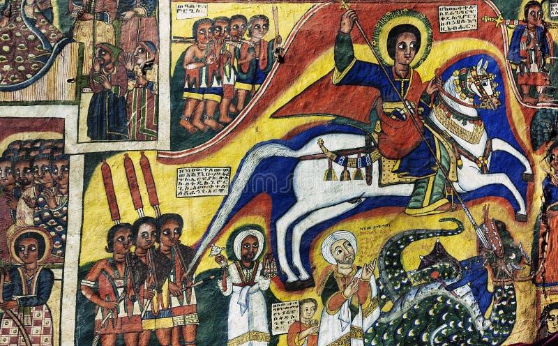 L'interno antico della chiesa ortodossa ha dipinto le pareti in ethiopi gondar fotografia stock libera da diritti