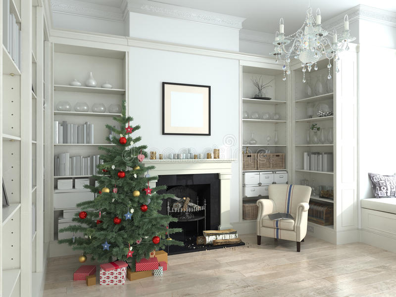 L'interno bianco del nuovo anno, l'albero di Natale, 3D rende immagini stock