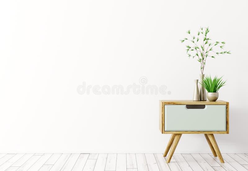 L'interno con la tavola laterale di legno 3d rende illustrazione di stock