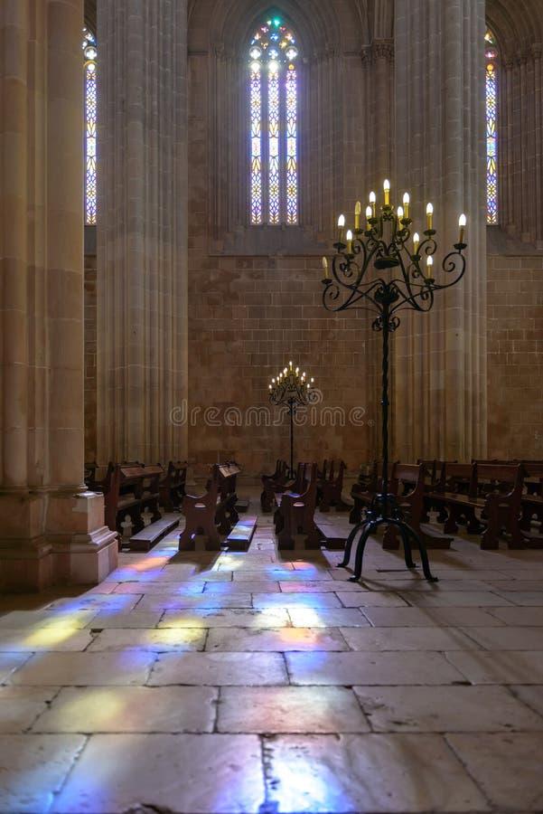 L'interno del monastero di Batalha, Portogallo immagine stock libera da diritti