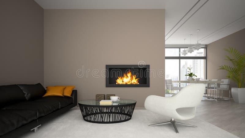 L'interno del sottotetto moderno con il camino ed il sofà nero 3D rendono royalty illustrazione gratis