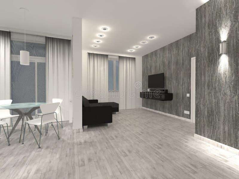 L'interno dell'appartamento è uno studio luminoso con mobilia scura rappresentazione fotografia stock