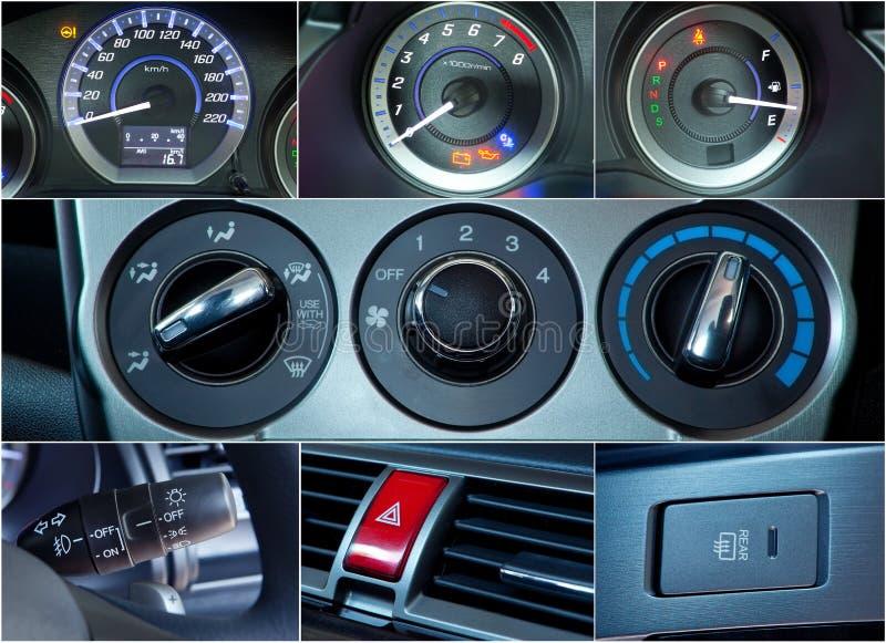 L'interno dell'automobile dettaglia il collage fotografia stock