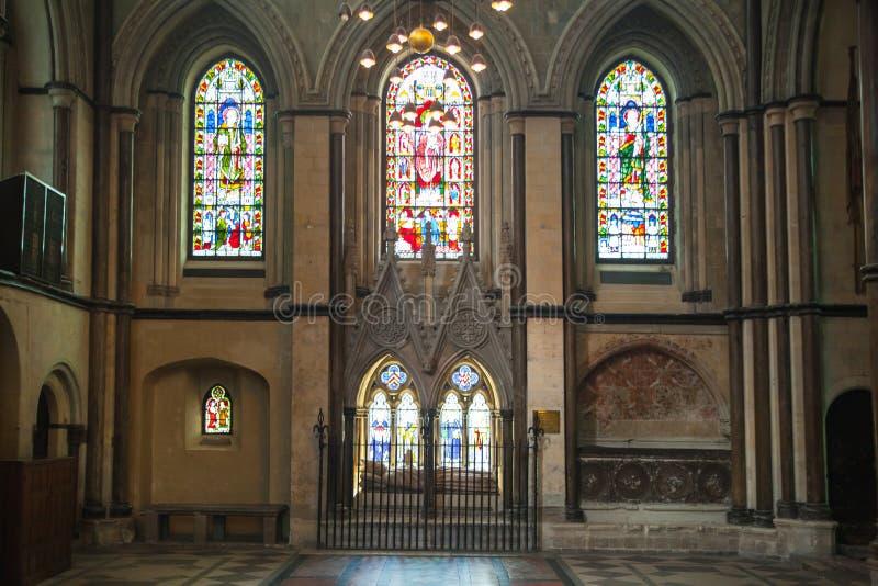 L'interno della cattedrale di Rochester è l'Inghilterra in secondo luogo più vecchia, essendo fondando in 604AD fotografia stock libera da diritti