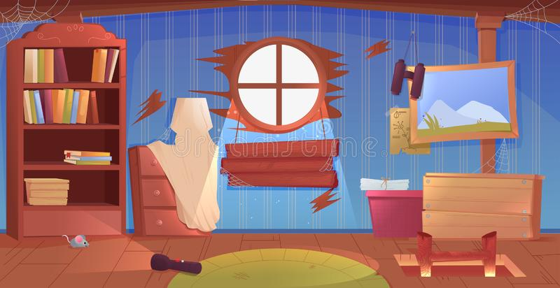 L'interno della soffitta Una vecchia stanza dimenticata con le scatole sul tetto Lampada ed immagini e scale alla cima illustrazione vettoriale