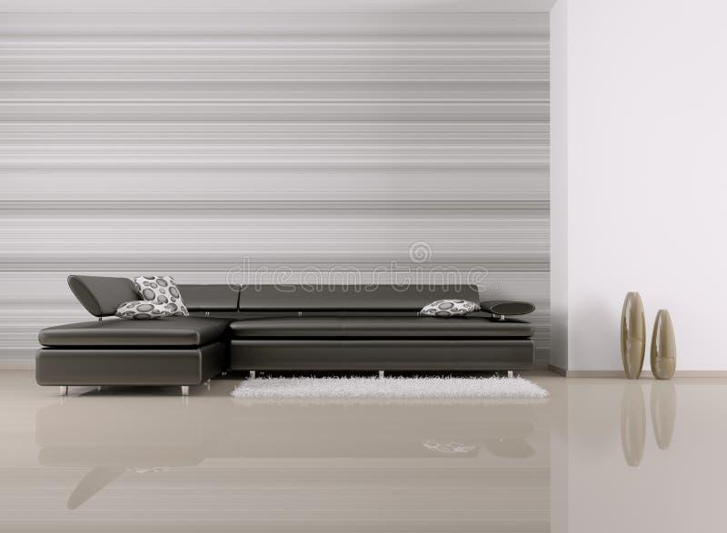 L'interno di stanza con il sofà 3d rende illustrazione vettoriale
