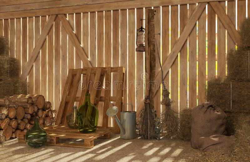 L'interno di vecchio granaio rurale con le balle di fieno, legna da ardere, strumenti per lavoro Raggi di luce attraverso le crep illustrazione di stock