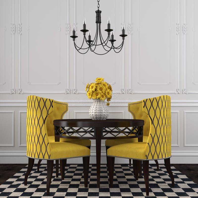 L 39 interno elegante di sala da pranzo con le sedie gialle for Sedie da sala pranzo