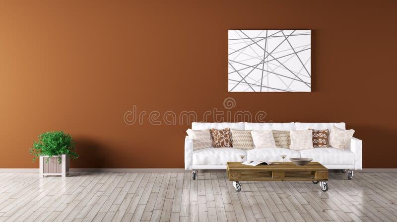 L'interno moderno del salone con il sofà 3d rende royalty illustrazione gratis