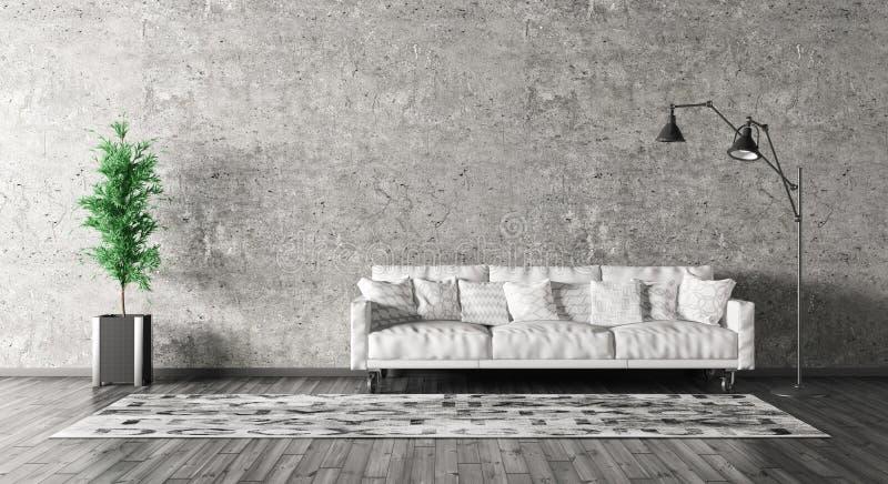 L'interno moderno del salone con il sofà 3d rende illustrazione vettoriale