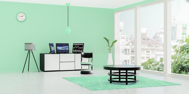 L'interno moderno della stanza di lavoro, il desktop computer nero 3 ha messo sopra un cassetto bianco davanti alla parete verde  royalty illustrazione gratis
