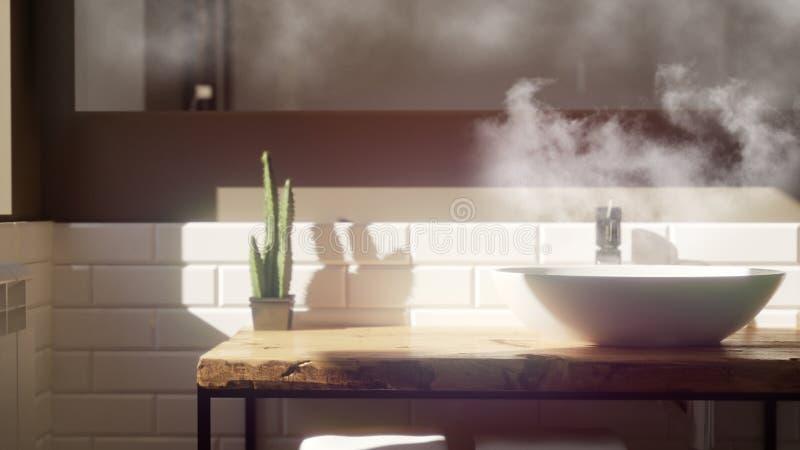 l'interno scandinavo del bagno 3D rende con il lavandino immagini stock libere da diritti