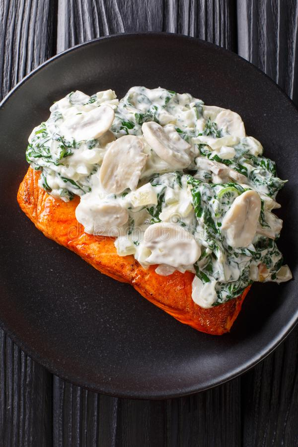 L'intero raccordo di color salmone è cotto alla perfezione, quindi ha finito con una guarnizione della fine degli spinaci, dei fu fotografie stock libere da diritti
