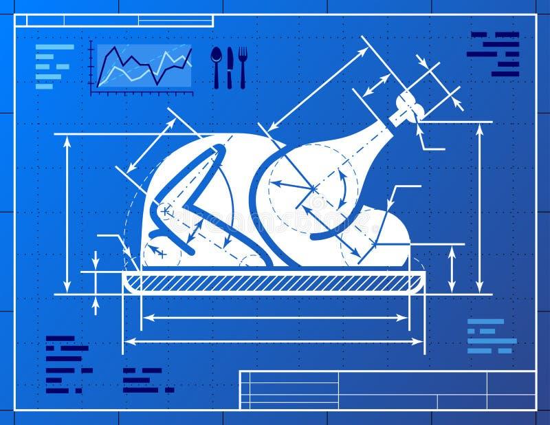 L'intero simbolo del tacchino di Natale gradisce il drawi del modello illustrazione vettoriale