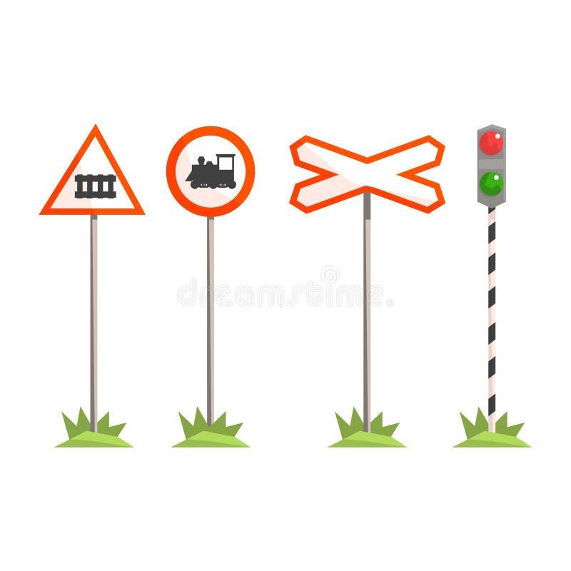 L'intersection ferroviaire signe, signalisation différente pour un croisement de chemin de fer Illustration colorée de bande dess illustration stock