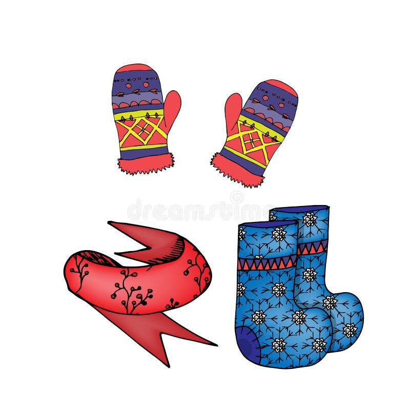 L'inverno copre i guanti, sciarpa, stivali del feltro illustrazione di stock