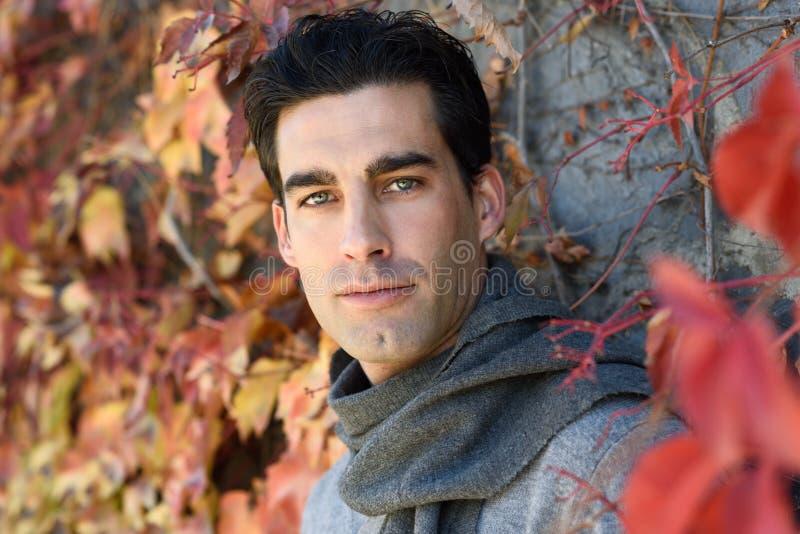 L'inverno d'uso dell'uomo bello copre del fondo delle foglie di autunno fotografia stock libera da diritti