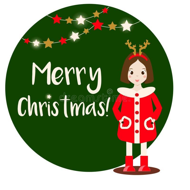 L'inverno d'uso sorridente del carattere della ragazza del bambino del fumetto copre Bandiera di Buon Natale illustrazione vettoriale