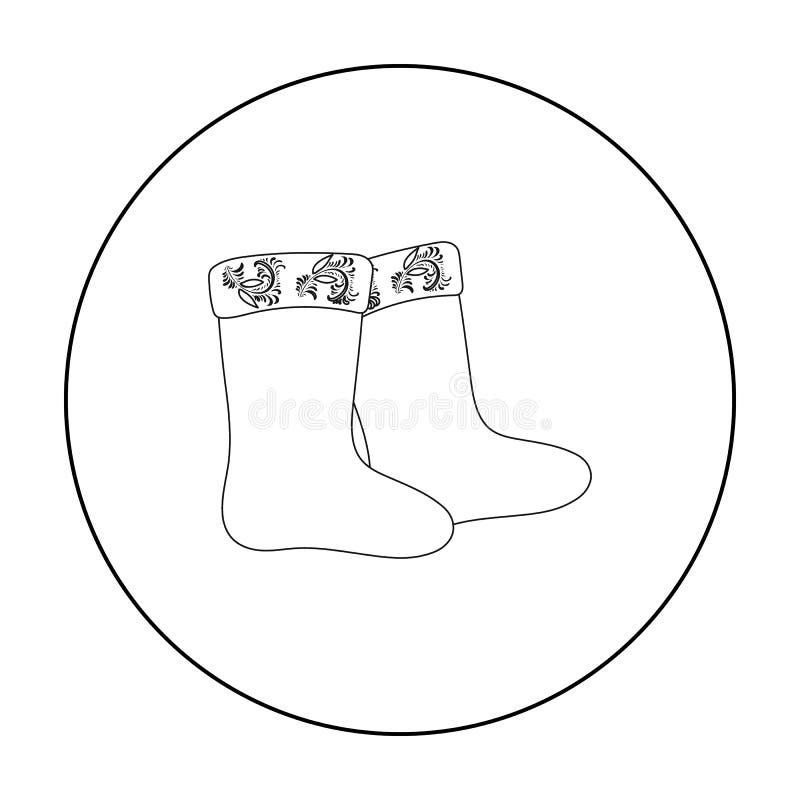 L'inverno ha ritenuto l'icona degli stivali nello stile del profilo isolata su fondo bianco Illustrazione russa di vettore delle  royalty illustrazione gratis