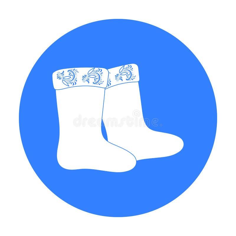 L'inverno ha ritenuto l'icona degli stivali nello stile nero isolata su fondo bianco Illustrazione russa di vettore delle azione  royalty illustrazione gratis