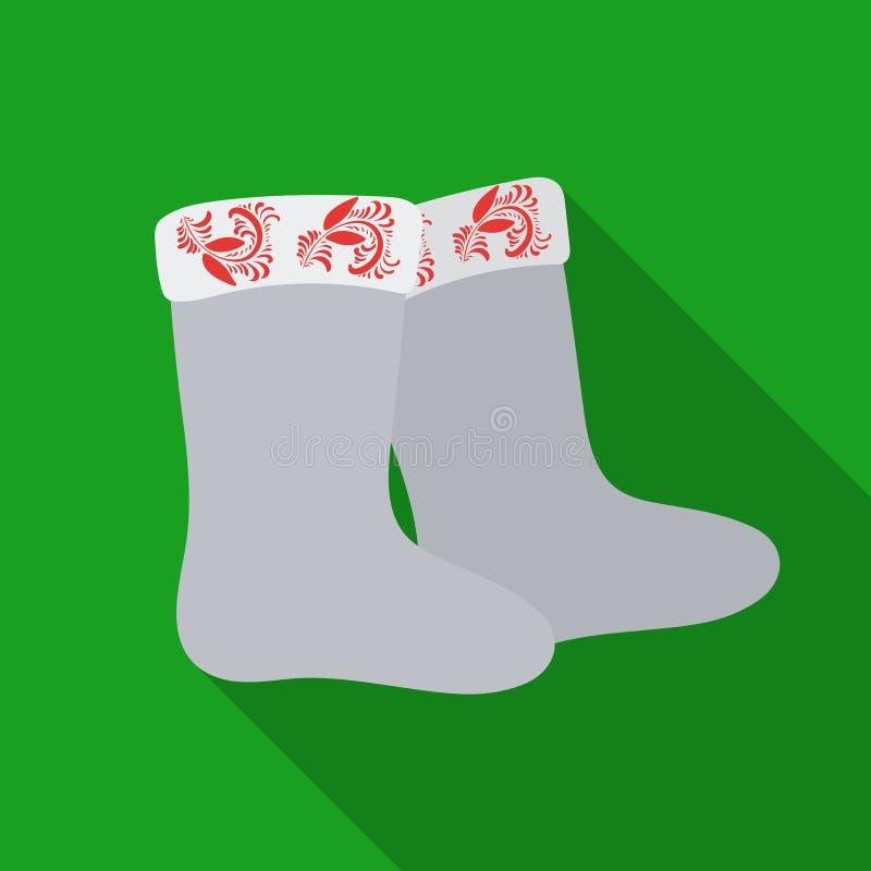 L'inverno ha ritenuto l'icona degli stivali nello stile piano isolata su fondo bianco Illustrazione russa di vettore delle azione illustrazione vettoriale