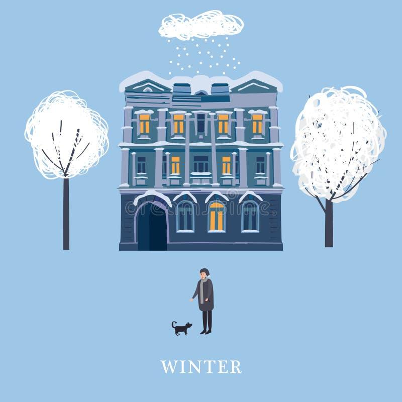 L'inverno, la casa di vecchia città, un uomo del carattere cammina il cane, alberi innevati Modello per la copertina di libro, ri royalty illustrazione gratis