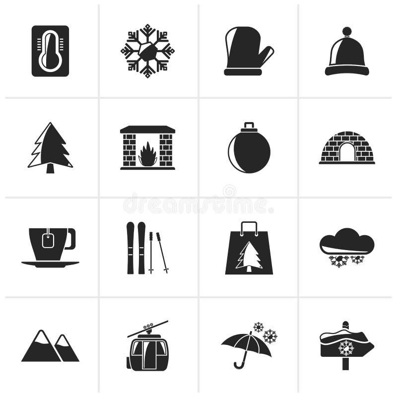 L'inverno nero, sport e si rilassa le icone royalty illustrazione gratis