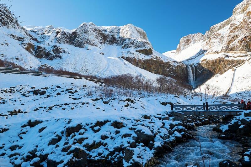 L'inverno scenico delle montagne di Changbai fotografia stock