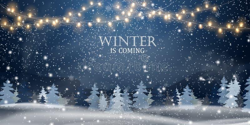 L'inverno sta venendo Natale, notte, paesaggio del terreno boscoso di Snowy Paesaggio di inverno di festa per il Buon Natale con  illustrazione di stock