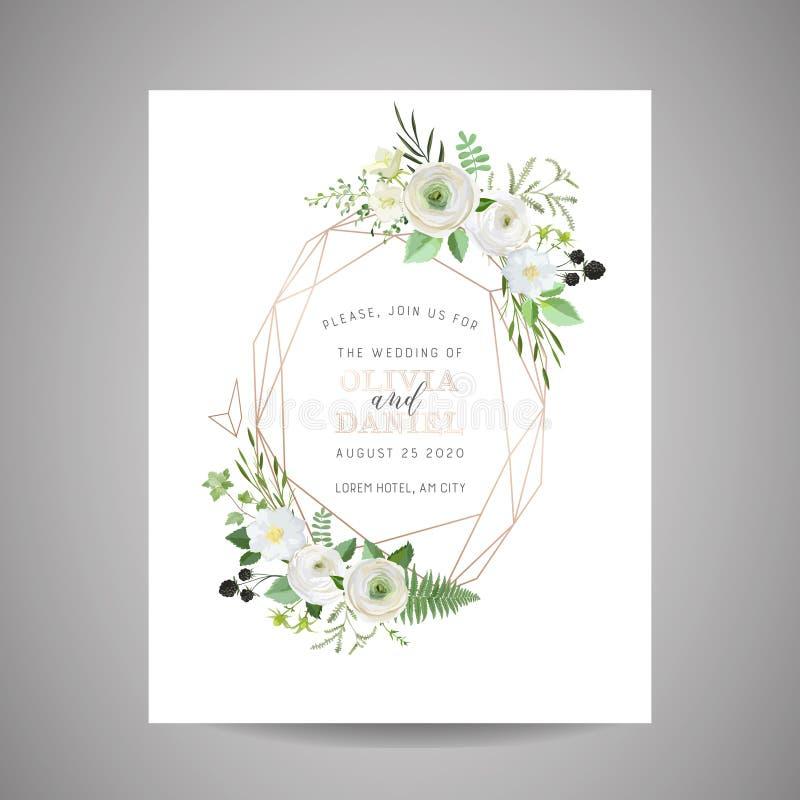 L'invitation l'épousant botanique, cru faire gagner la date, florale invitent, merci, design de carte rustique de rsvp avec la dé illustration de vecteur