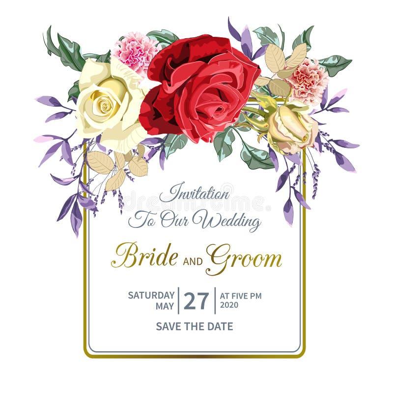 L'invitation l'épousant florale avec le bouquet de belles roses rouges, jaunes, roses fleurissent et cadre géométrique d'or illustration stock