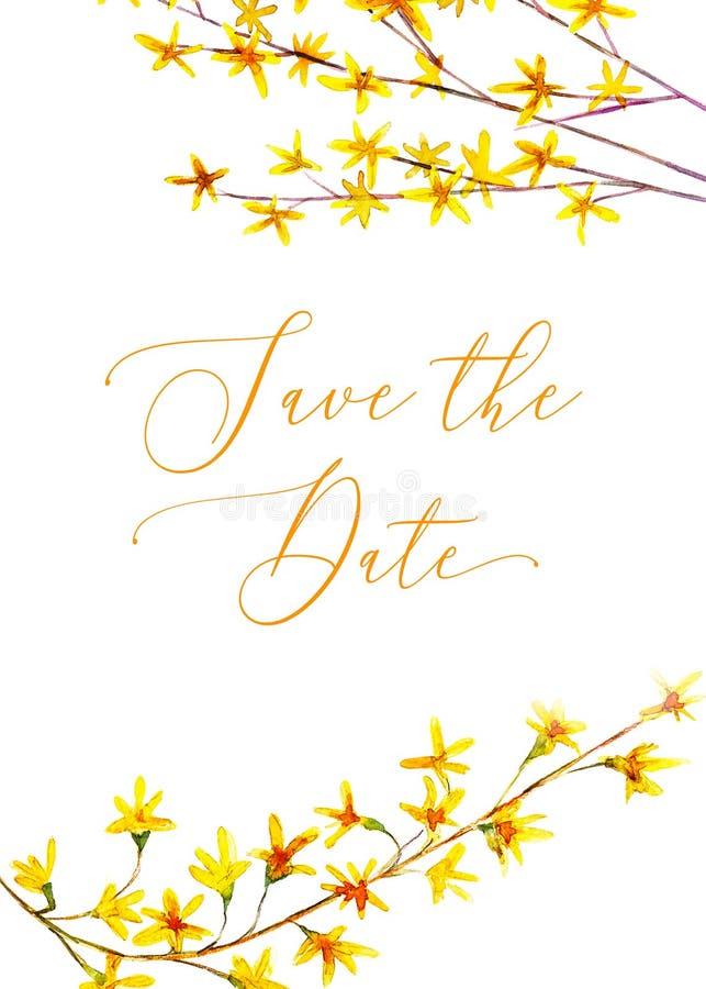 L'invitation l'épousant florale, font gagner la date, carte de jour de valentines Illustration tirée par la main d'aquarelle illustration libre de droits