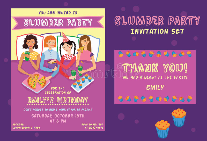 L'invitation d'anniversaire de soirée pyjamas vous remercient des cartes en liasse illustration stock