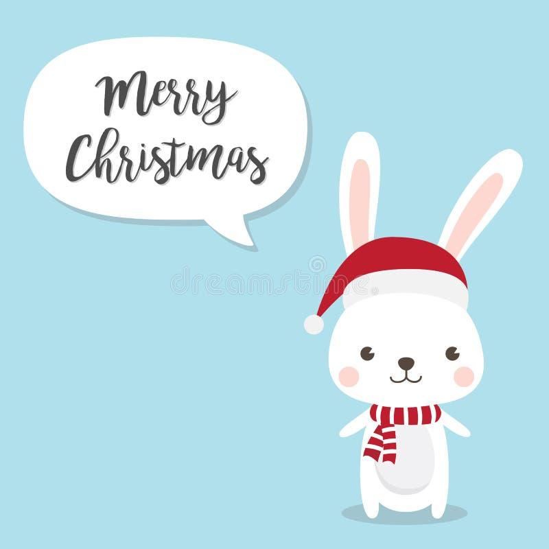 L'invitation de bonne année et de Joyeux Noël cardent le cartoo de lapin illustration libre de droits
