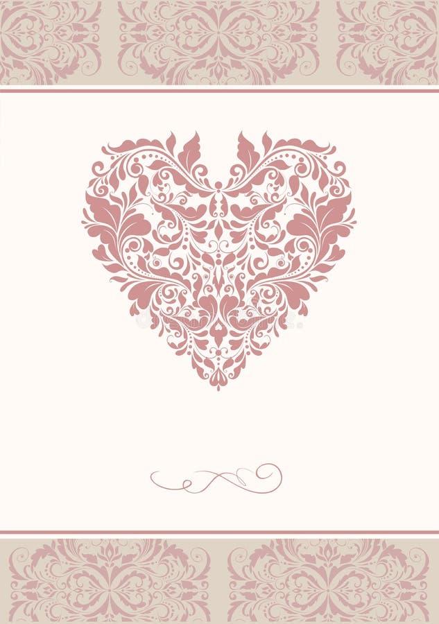 L'invitation de mariage avec le modèle floral de vintage et le coeur forment illustration libre de droits